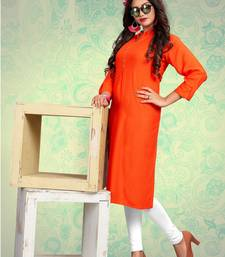 Orange plain rayon kurti