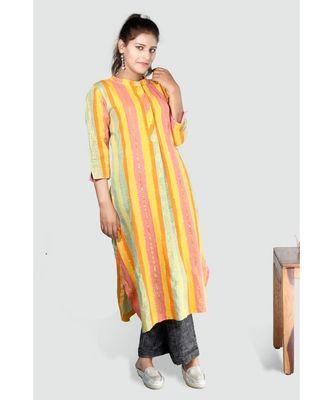 Multi Colour Button Down Khadi Cotton Kurta