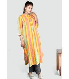 Multi Colour Button Down Khadi Cotton Kurta