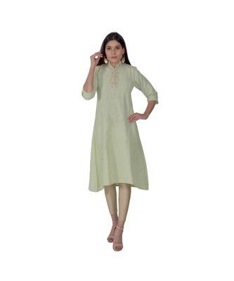 Leafy Green Kurta With Gota Patti Work In Khadi Cotton