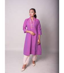 Purple Kurta With Overrlap Neckline Mirror Work
