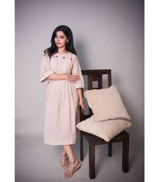 Beige Kurta With Mirror And Pearl Work