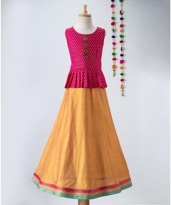 pink golden print cotton kids lehenga choli