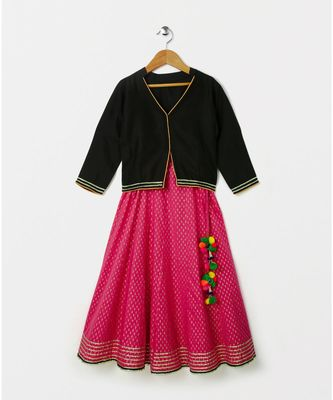 black plain cotton kids lehenga choli