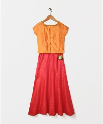 orange plain art silk kids lehenga choli