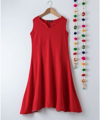 red plain rayon kids kurtis