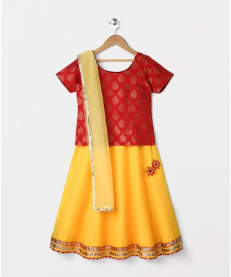red woven brocade kids lehenga choli