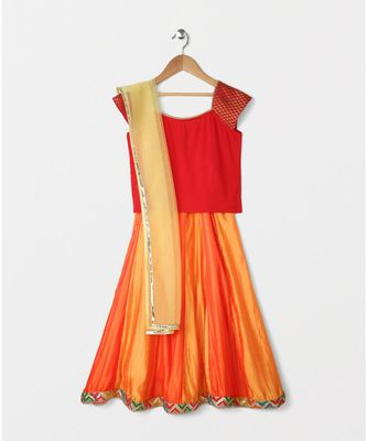 red plain art silk kids lehenga choli