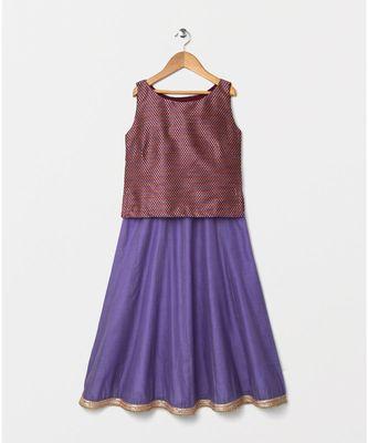 purple woven brocade kids lehenga choli