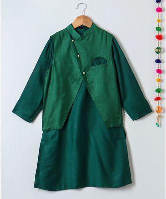 green plain tussar boys kurta