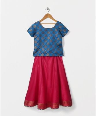 blue woven brocade kids lehenga choli