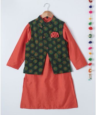 orange printed cotton boys kurta with jacket