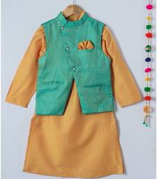 yellow woven cotton boys kurta with nehru jacket