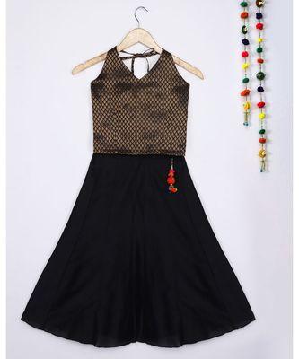 black woven brocade kids lehenga choli
