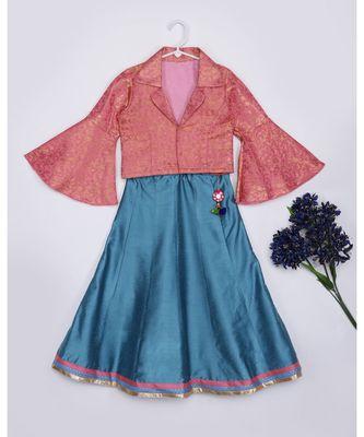 pink woven brocade kids lehenga choli