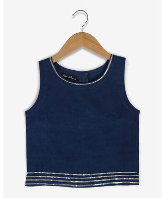 blue plain cotton kids tops