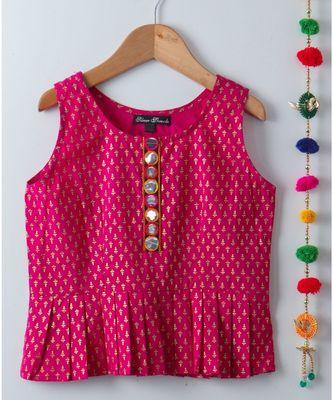 pink printed cotton kids tops