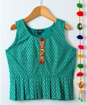 green printed cotton kids tops