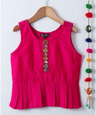 pink plain cotton kids tops