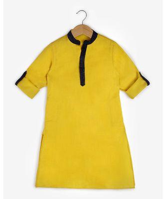 yellow plain cotton  kids kurtis