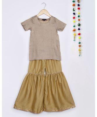 brown woven crepe kids salwar suit