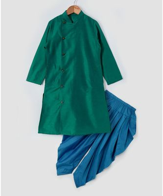 green plain cotton poly boys dhoti kurta