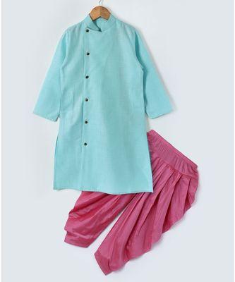 blue plain cotton poly boys dhoti kurta
