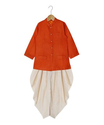 orange plain cotton poly boys dhoti kurta