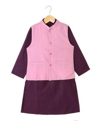 purple plain cotton poly boys kurta