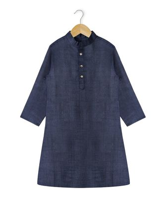 blue plain tussar boys kurta