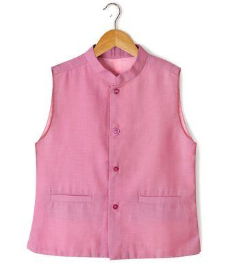 pink plain linen boys nehru jacket