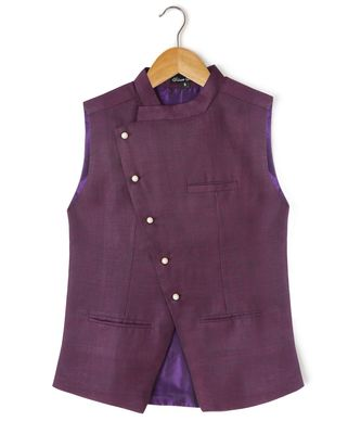 purple plain linen boys nehru jacket