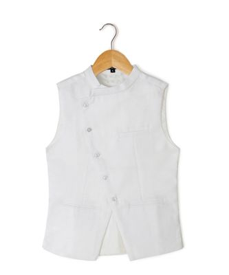 white plain linen boys nehru jacket