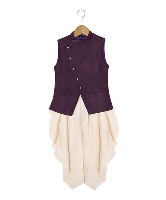 purple plain cotton silk boys dhoti kurta