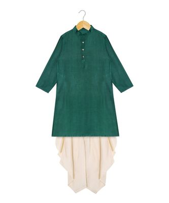 green plain tussar boys dhoti kurta