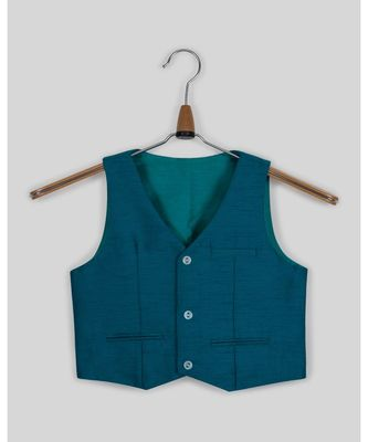 blue plain jute boys nehru jacket