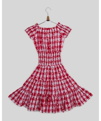 red plain cotton kids frocks