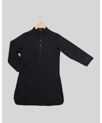 black plain cotton poly boys kurta