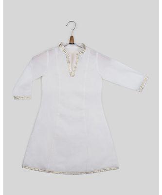 white plain cotton  kids kurtis