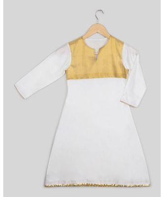white plain cotton poly kids kurtis