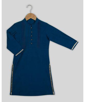 blue plain cotton poly  kids kurtis