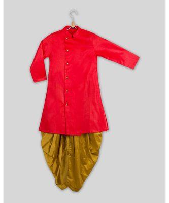 pink plain cotton poly boys dhoti kurta