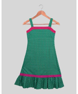 green printed cotton kids frocks
