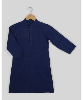 blue plain cotton boys kurta