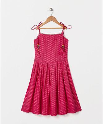 pink printed cotton kids kurtis