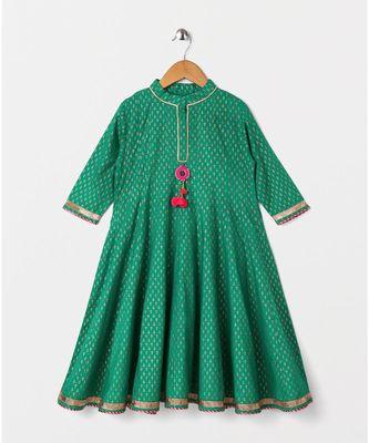 green printed cotton kids kurtis
