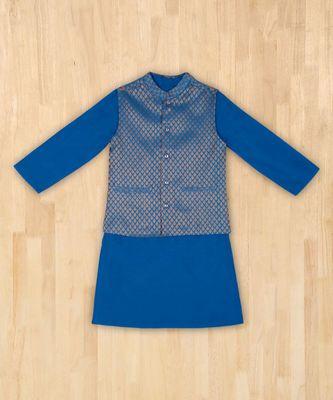 blue plain cotton poly boys kurta with jacket