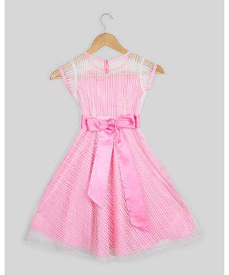 pink plain net kids frocks