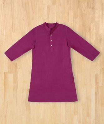 purple plain cotton boys kurta