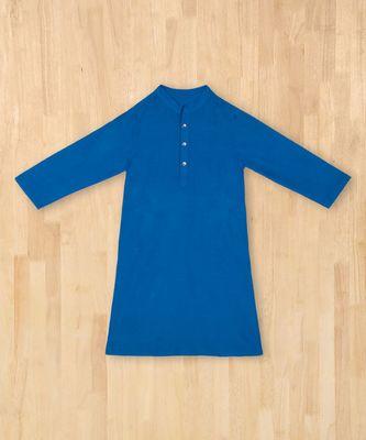 blue plain cotton boys kurta